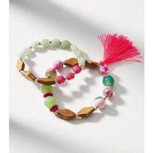 Anthropologie Semi-Precious Pink-Tassel Bracelets